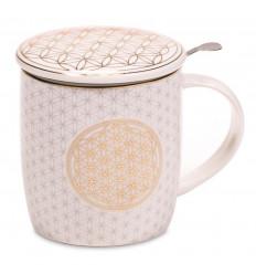 340ml tea infuser mug. White ethnic style