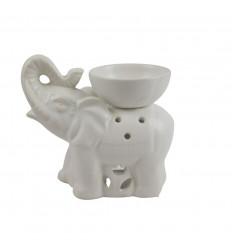 Brûle parfum éléphant indien en céramique artisanale blanche