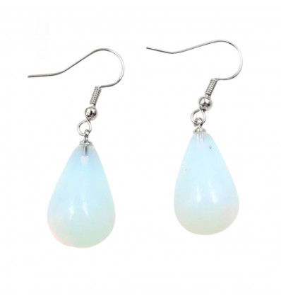 Shape earrings drop natural opal hook with silver plated.