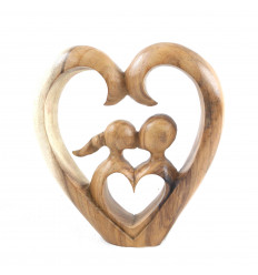 """Statue """"Romanticism"""" couple in love shape tinted wooden heart"""