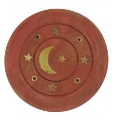 Porta incenso in legno per bastoncini - Motivo luna