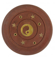 Wooden incense holder for cones and sticks - Yin Yang pattern
