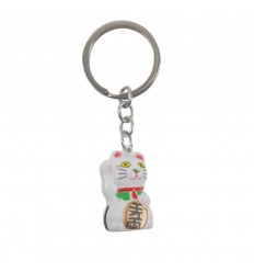 Maneki Neko Portachiame d'oro bianco - Gatto fortunato (Lucky Cat)