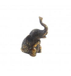 Elephant statuette trumpets in bronze air 7.50cm