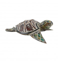 Medium turtle - Hand-carved and hand-painted wood - 24.5cm