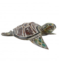 Large turtle - Hand-carved and hand-painted wood - 30cm