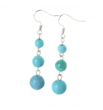Earrings hanging 3 balls of Turquoise - free Shipping !!!