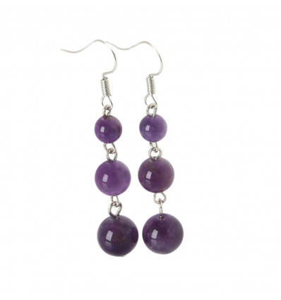Earrings hanging 3 balls in Amethyst - free Delivery !!!