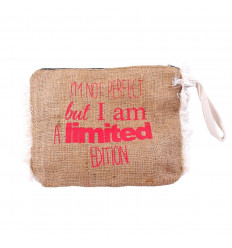 Kit in jute to message funny. Pouch bag original hand.