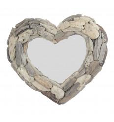Mirror heart drifted wooden 45x35cm. Wall decoration