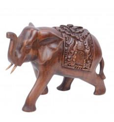 Statue éléphant h15cm en bois massif sculpté main