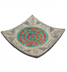 Coupelle en terre cuite décor sable avec mosaique de verre orange et turquoise 30cm