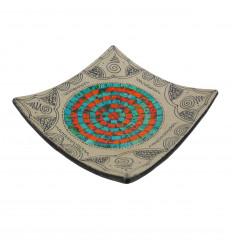 Coupelle en terre cuite décor sable avec mosaique de verre orange et turquoise 25cm