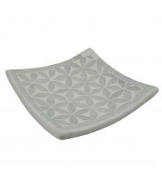 Decorazione in sabbia tazza di terracotta con mosaico di vetro grigio 30 cm