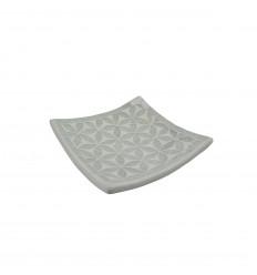 Tazza in terracotta con mosaico in vetro grigio con sfumature di blu da 25 cm