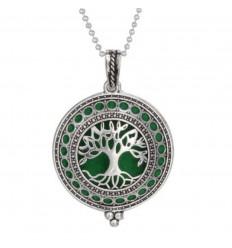 Collier Aromathérapie avec pendentif diffuseur de parfum, motif arbre de vie