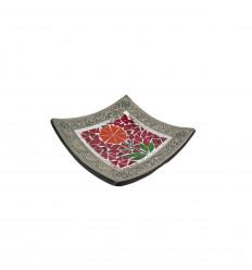 Piatto mosaico quadrato in terracotta 20x20cm - Decorazione sabbia - Fiore colorato