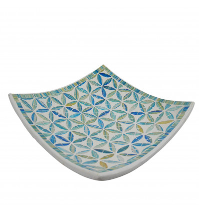 Square Mosaic Dish in Terracotta 30x30cm - Turquoise Mosaic - Flowers of Life