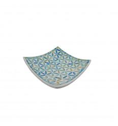 Piatto mosaico quadrato in terracotta 20x20cm - Mosaico turchese - Fiori della vita