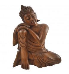 Statue de Bouddha Penseur 30cm - Bois massif sculpté main