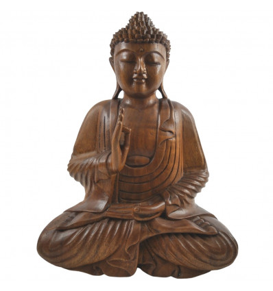 Grande statue de Bouddha bois, achat décoration Bali Zen Bouddhisme.