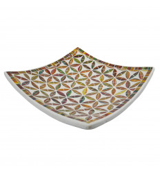 Square Mosaic Dish in Terracotta 30x30cm - Golden glass mosaic decoration and Black flower of Life motif