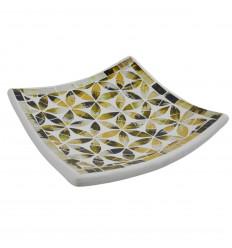 Plat Mosaïque carré en Terre cuite 30x30cm - Décor en Mosaïque de verre Bleue motif Fleur de Vie