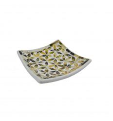 Piatto a mosaico quadrato in terracotta 25x25cm - Decorazione a mosaico in vetro dorato e motivo fiore nero della vita