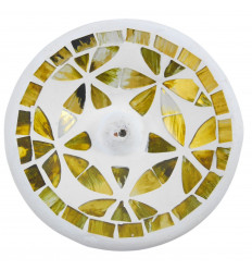 Porta incenso in terracotta e mosaico d'oro - nero per bastoncini - 10cm