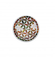 Small dish - 20cm terracotta and glass mosaic - Multicolored