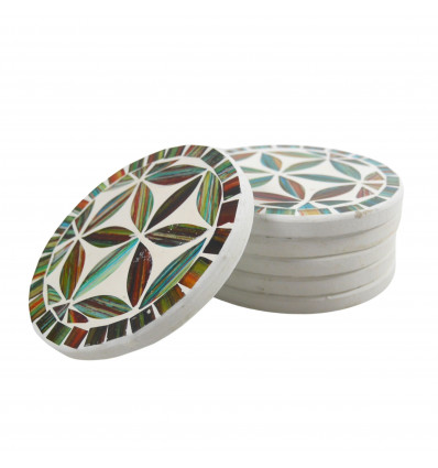 Lot of 6 Round coasters pattern Flower of Life 10cm