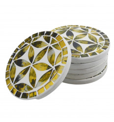Round coasters pattern Flower of Life Color Black and Gold - Lot of 6