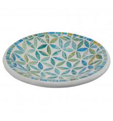 Grande piatto - 27cm terracotta e mosaico di vetro - Colore blu - Bianco