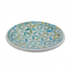 Round Mosaic Dish in Terracotta - 23cm - Blue Decoration in Glass Mosaic Pattern Flower of Life