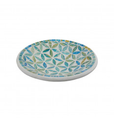 Round Mosaic Dish in Terracotta - 20cm - Blue Decoration in Glass Mosaic Pattern Flower of Life