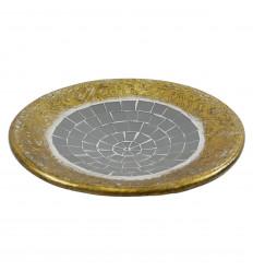 Coupelle ronde en terre cuite dorée avec mosaique de verre grise 30cm