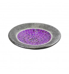 Piccolo piatto - mosaico in terracotta e vetro da 20 cm - Colore grigio - Viola