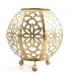 Moroccan bedside lamp in gold wrought iron and white fabric ⌀20cm