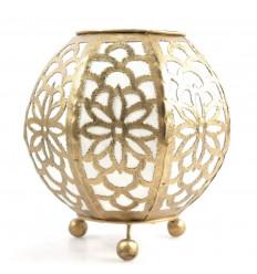 Lampada da comodino marocchina in ferro battuto oro e tessuto bianco ⌀20cm