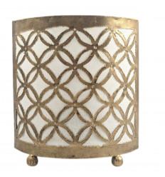 Lampada da comodino orientale in ferro battuto oro e tessuto bianco da 18 cm