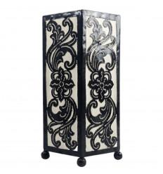 Lampe style Orientale 30cm - Fer forgé noir et tissu blanc