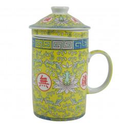 Porcelain tea infuser mug. Lotus Flower Pattern - Yellow and Pink Colours