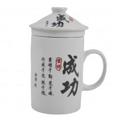 "Porcelain tea infuser mug. Chinese Characters ""Success"""