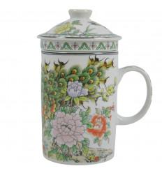 Porcelain tea infuser mug. Pattern Multicolor Peacocks - Flowers