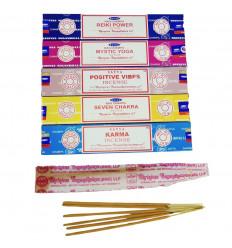 Bouquet Circulation énergétique - Assortiment d'encens SATYA 5 parfums - lot de 60 bâtons