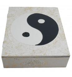 Scatola di legno Yin Yang 30x24cm - Colore nero - Bianco