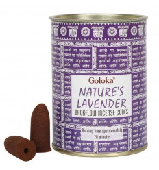 Box of 24 incense cones Backflow Goloka Lavender - Natural Indian Incense