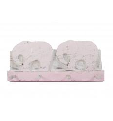 Elefante da parete in legno invecchiato rosa