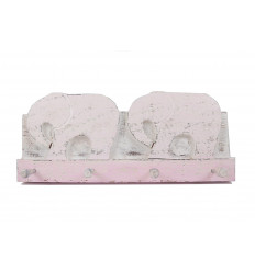 Wall pad elephant in pink aged wood