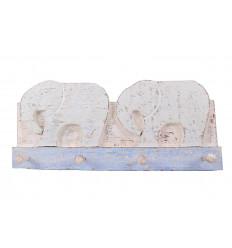 Wall coat rack 2 elephants / 4 hooks - Blue color